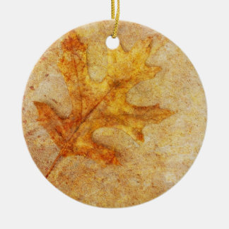 Golden Textured Leaf Christmas Ornament