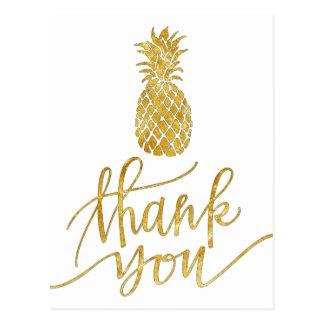 golden thank you calligraphy pineapple postcard