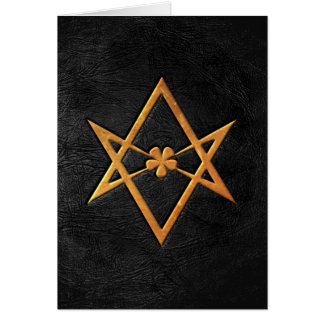 Golden Thelemic Unicursal Hexagram Black Leather Card