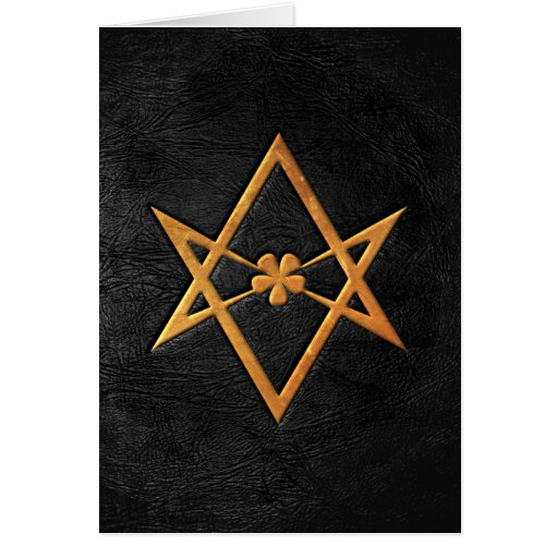 Golden Thelemic Unicursal Hexagram Black Leather Cards
