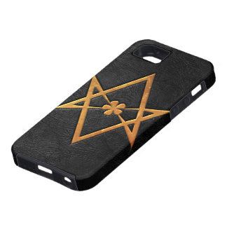 Golden Thelemic Unicursal Hexagram Black Leather iPhone 5 Covers