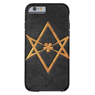 Golden Thelemic Unicursal Hexagram Black Leather Tough iPhone 6 Case