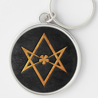 Golden Thelemic Unicursal Hexagram Black Leather Key Ring