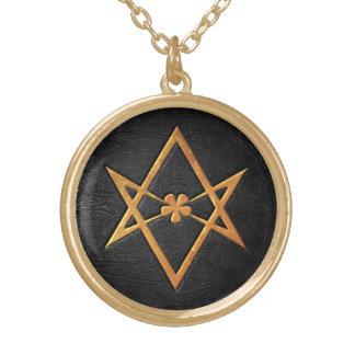 Golden Thelemic Unicursal Hexagram Black Leather Round Pendant Necklace