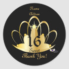Golden Tiara Sweet, 16 Sticker-Customise Classic Round Sticker