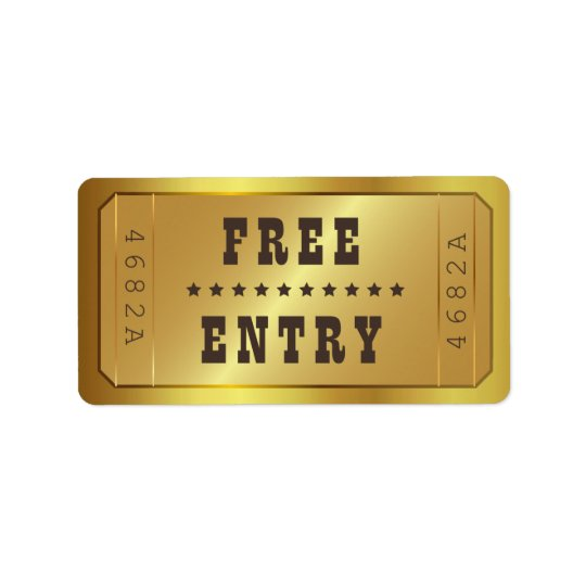 Golden Ticket Admit One Stars Free Entry Vintage