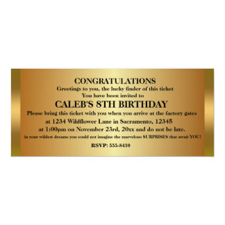 GOLDEN TICKET Birthday Party Event Invitation