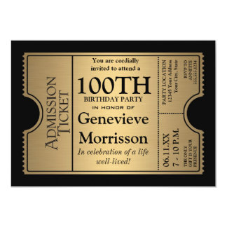 Golden Ticket Style 100th Birthday Party Invite