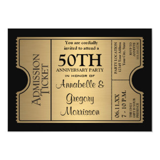 Golden Ticket Style 50th Wedding Anniversary Party 13 Cm X 18 Cm Invitation Card