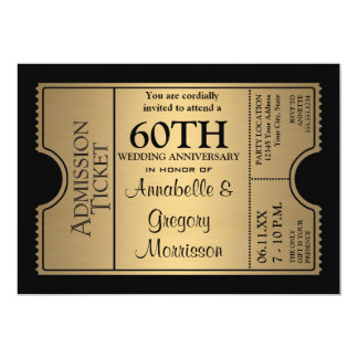 Golden Ticket Style 60th Wedding Anniversary Party 13 Cm X 18 Cm Invitation Card