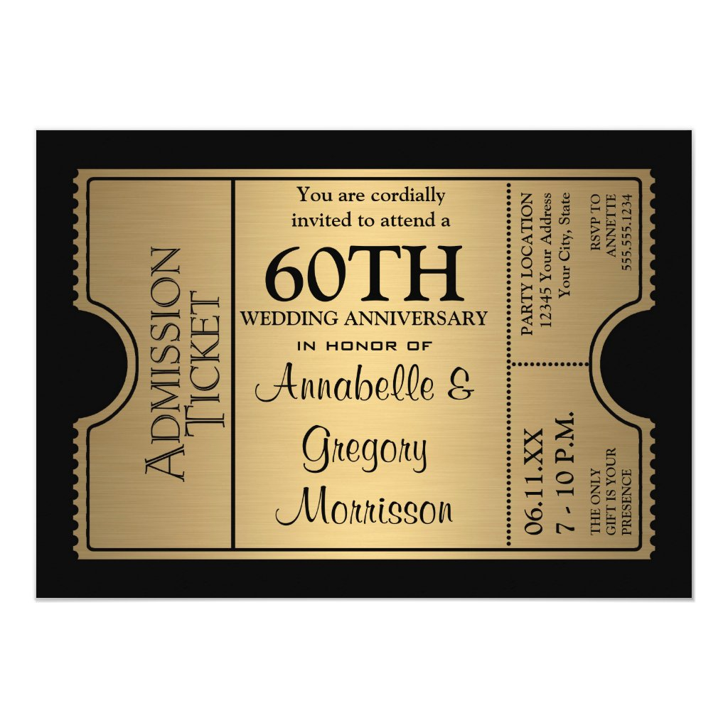 Golden Ticket Style 60th Wedding Anniversary Party