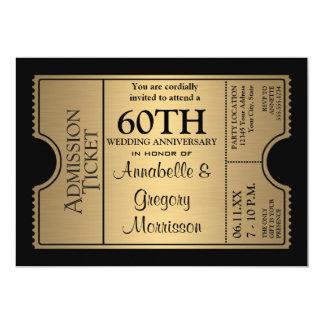 Golden Ticket Style 60th Wedding Anniversary Party 13 Cm X 18 Cm Invitation Card