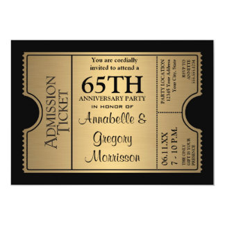 Golden Ticket Style 65th Wedding Anniversary Party 13 Cm X 18 Cm Invitation Card