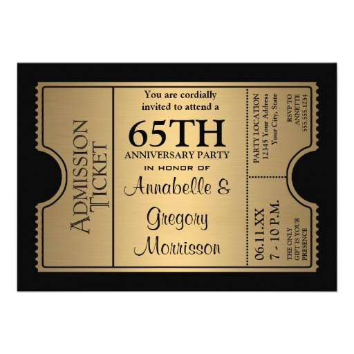 Golden Ticket Style 65th Wedding Anniversary Party Custom Announcements