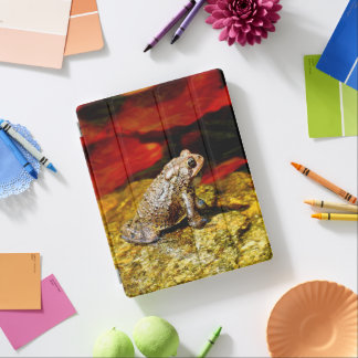 Golden Toad with Red Lily Pads Folio Cover iPad Cover