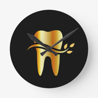 Golden Tooth with leaves Clock