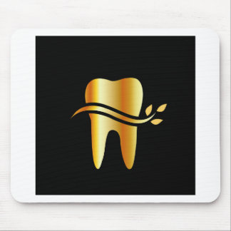 Golden Tooth with leaves Mouse Mat