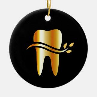 Golden Tooth with leaves Round Ceramic Decoration