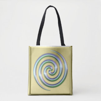Golden Tote Bag with Shining spiral