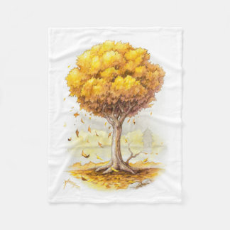 Golden Tranquility Fleece Blanket