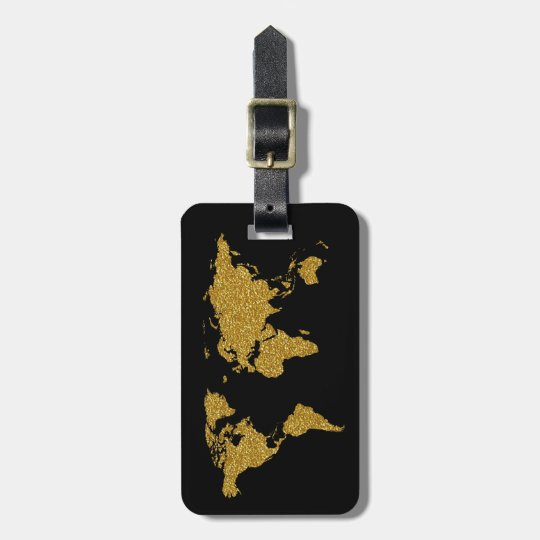 golden travel world map personalised luggage tag