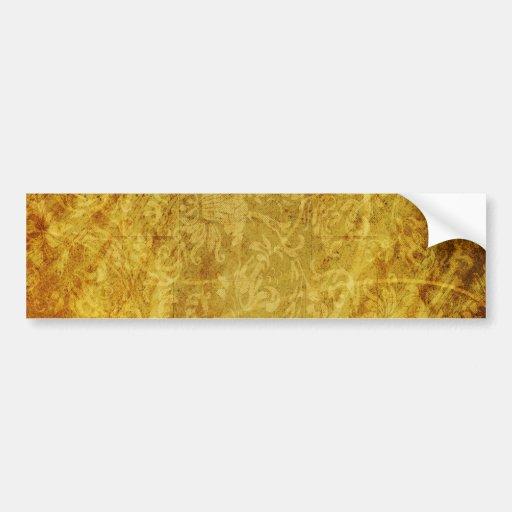 GOLDEN TREASURE GRUNGE FLORAL BACKGROUNDS TEMPLATE BUMPER STICKER