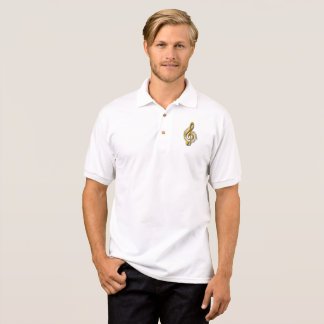 Golden Treble Clef With Notes And Shadows Polo Shirt