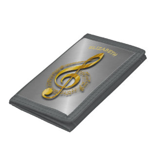 Golden Treble Clef With Notes And Shadows Trifold Wallet