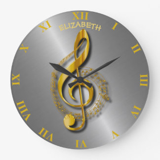 Golden Treble Clef With Notes And Shadows Wallclock