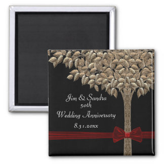 Golden Tree With Red Ribbon & Bow Date Saver Square Magnet