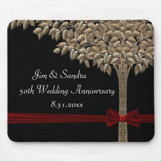 Golden Tree With Red Ribbon & Bow Mouse Mat