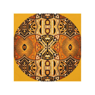 Golden tribal modern mandala art on wood