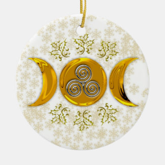 Golden Triple Moon & Silver Triple Spiral w/ Holly Round Ceramic Decoration