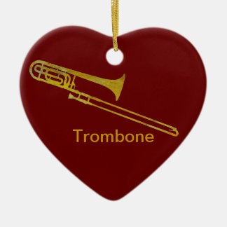 Golden Trombone Ceramic Heart Decoration