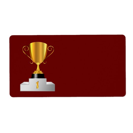Golden trophy cup shipping label