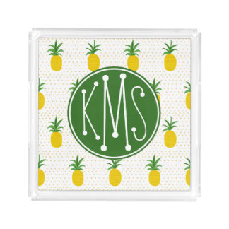 Golden Tropical Pineapples | Monogram Acrylic Tray