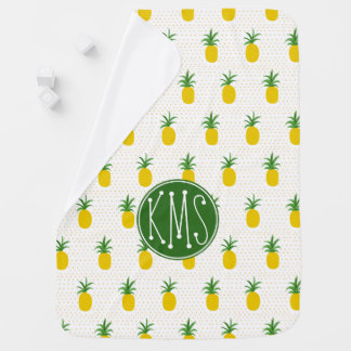 Golden Tropical Pineapples   Monogram Baby Blanket