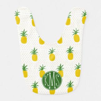 Golden Tropical Pineapples   Monogram Bib