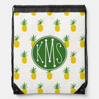Golden Tropical Pineapples | Monogram Drawstring Bag