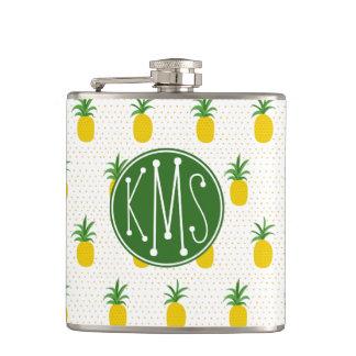 Golden Tropical Pineapples | Monogram Hip Flask