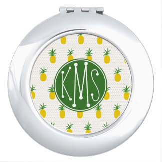 Golden Tropical Pineapples | Monogram Makeup Mirrors