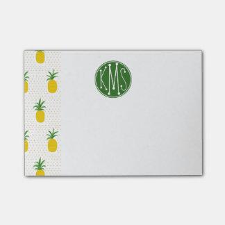 Golden Tropical Pineapples   Monogram Post-it Notes
