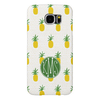 Golden Tropical Pineapples | Monogram Samsung Galaxy S6 Cases