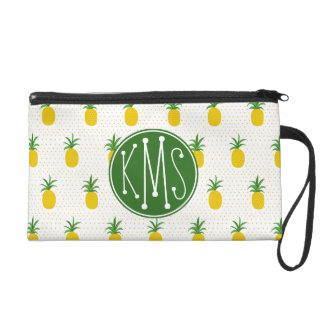 Golden Tropical Pineapples | Monogram Wristlet Purse