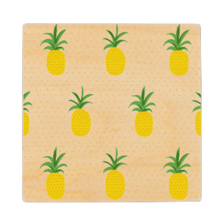 Golden Tropical Pineapples Wood Coaster