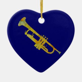 Golden Trumpet Ceramic Heart Decoration