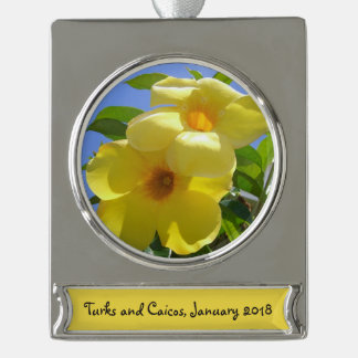 Golden Trumpet Flowers I Silver Plated Banner Ornament
