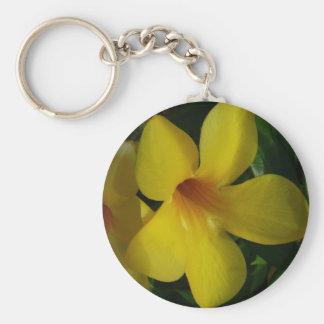 Golden Trumpet Flowers II Basic Round Button Key Ring