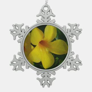 Golden Trumpet Flowers II Tropical Floral Pewter Snowflake Decoration