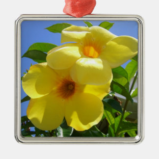 Golden Trumpet Flowers Tropical Floral Silver-Colored Square Ornament